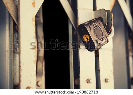 Vintage padlock on old metal door (security business concept) - stock photo