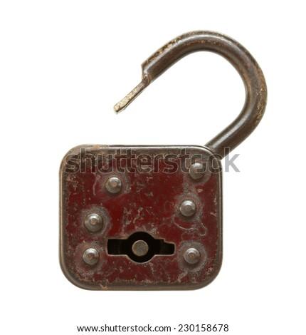 Vintage padlock (unlocked) isolated on white background - stock photo
