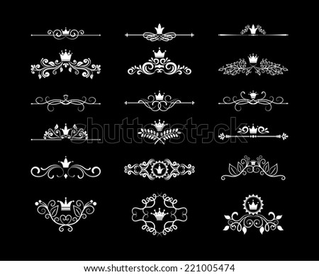 Vintage page floral design elements dividers and frames with crowns for birthday cards and wedding invitations - stock photo