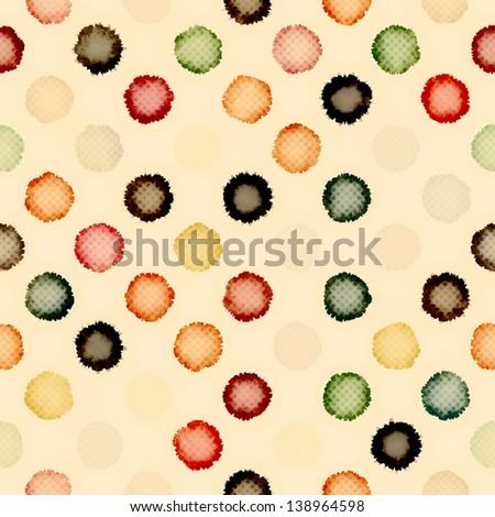 Vintage painting polka dot print. Seamless pattern. - stock photo