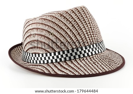 Vintage panama hat isolated white background
