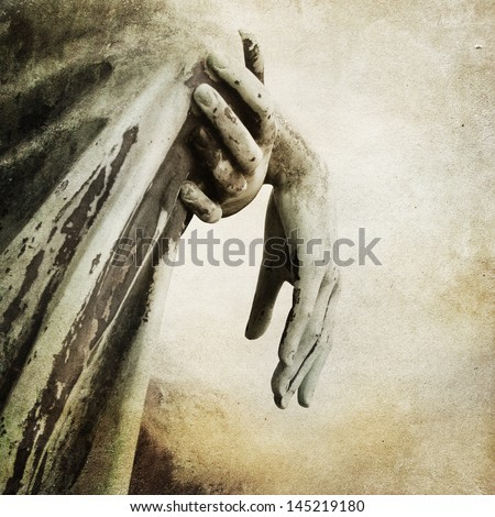 Vintage paper background with old statue - stock photo