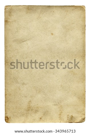 Vintage paper blank with old spots isolated on white background.