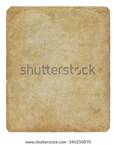 Vintage paper blank with torn edges and old spots isolated on white background.