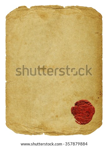 Vintage paper blank with torn edges, old spots, old damaged seal isolated on white background. - stock photo