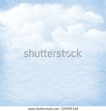 Vintage paper blue background with clouds