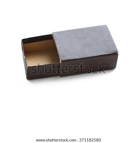 Vintage paper box. opened, brown color empty container. soft focus. copy space, macro view - stock photo