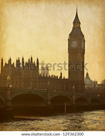 vintage paper. Buildings of Parliament with Big Ben tower - stock photo