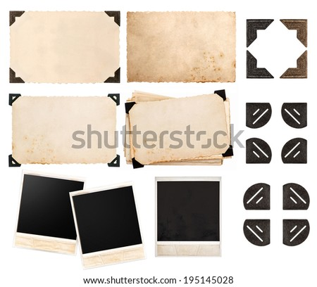 vintage paper card with corner, photo cardboard, instant photo polaroid, postcard isolated on white background - stock photo