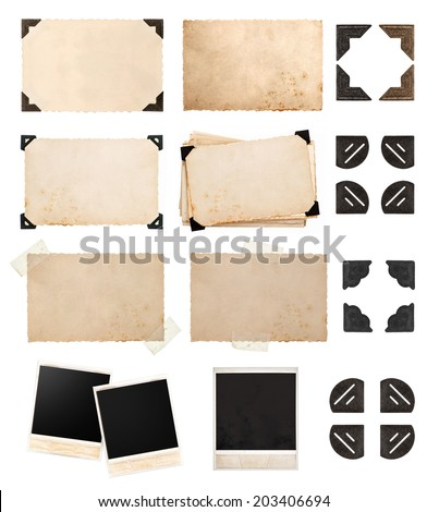 vintage paper card with corners and tapes, photo cardboard, instant photo polaroid, postcard isolated on white background - stock photo