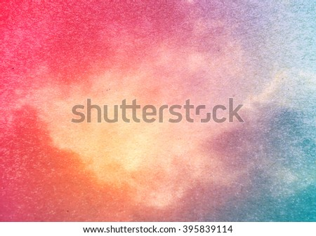 vintage paper cloud and sun ,yellow and red background  - stock photo