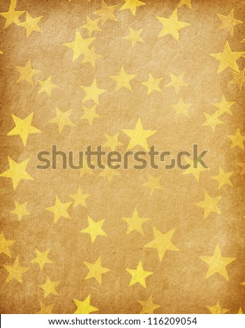 vintage paper decorated with  gold stars - stock photo