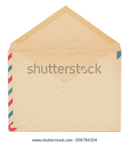 Vintage paper envelope back side, open and isolated on white background - stock photo
