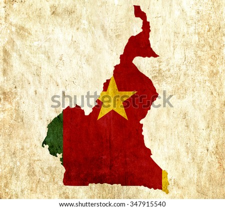 Vintage paper map of Cameroon - stock photo