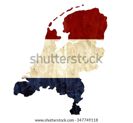 Vintage paper map of Netherlands - stock photo