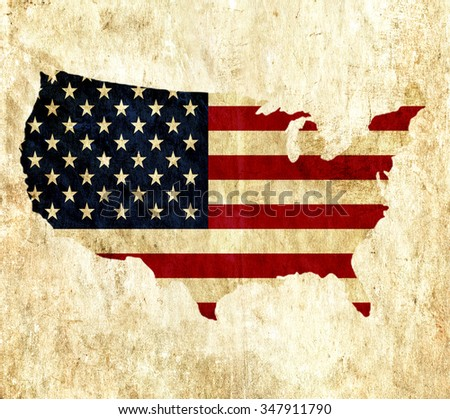 Vintage paper map of United States of America - stock photo