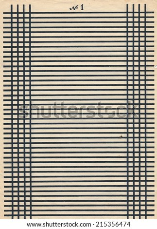vintage paper page sheet with black line background - stock photo
