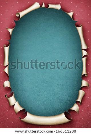 Vintage paper pastel pink frame in shape oval.  - stock photo