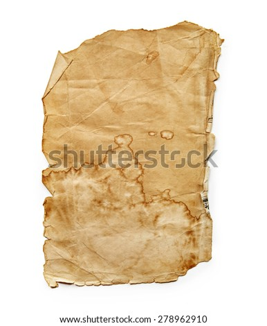 Vintage paper sheet isolated on white background