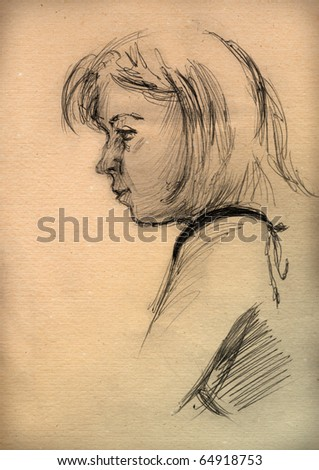 vintage paper with a sketch of a  girl