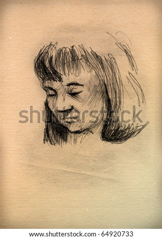 vintage paper with a sketch of a  women