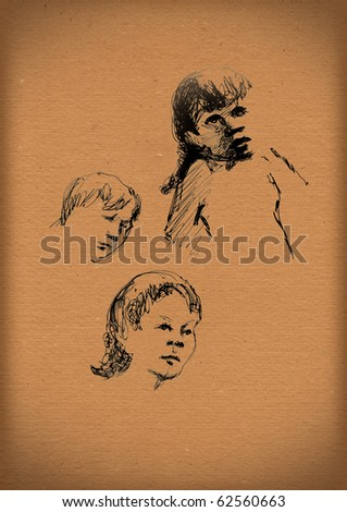 vintage paper with a sketch of children