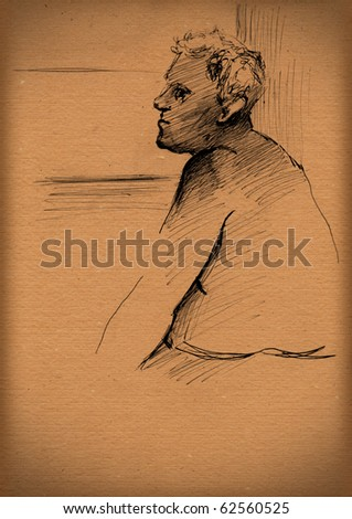 vintage paper with a sketch of figure of a man
