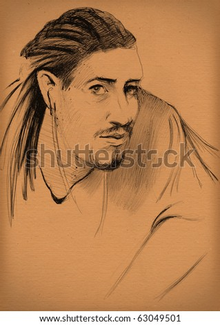 vintage paper with a sketch of man with dreadlocks