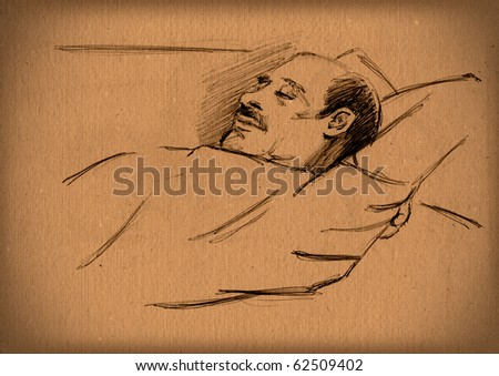 vintage paper with a sketch of sleeping man