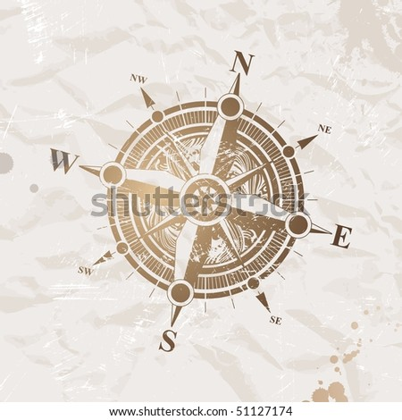 Vintage paper with compass rose - stock photo
