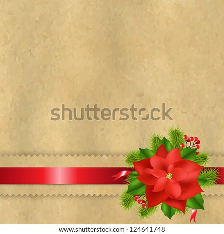 Vintage Paper With Divider And Poinsettia - stock photo