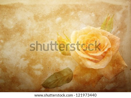 vintage paper with yellow rose - stock photo