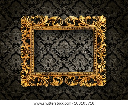 vintage pattern background with a gold frame - stock photo