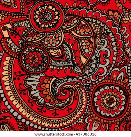 Vintage pattern based on traditional Asian elements Paisley. Bright orange . - stock photo