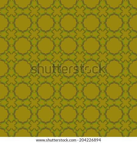 Vintage pattern from different figures on green background