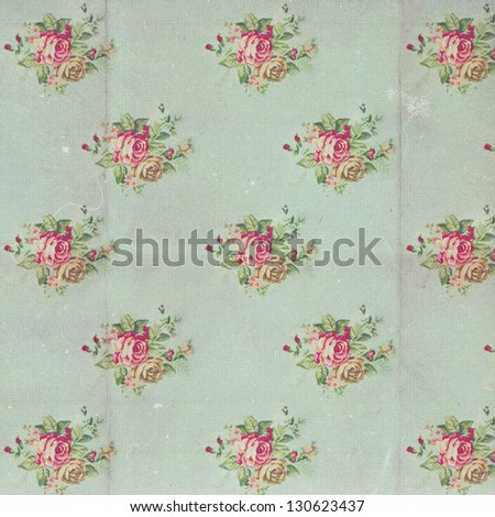 vintage pattern with blue flowers, retro