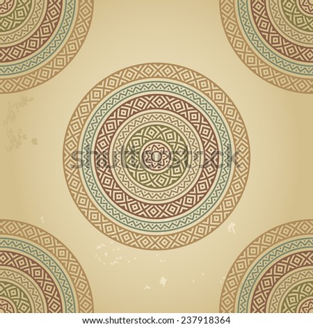 Vintage pattern with ethnic ornament on grunge background. Could be used for wallpaper, textiles, book design, pattern fills, web page background, etc. Raster copy - stock photo