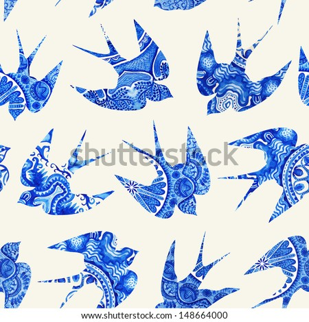 vintage pattern with little swallows, seamless pattern with birds, watercolor hand painted background, watercolor bird, seamless background with stylized blue swallow. Blue wrapping ornaments - stock photo