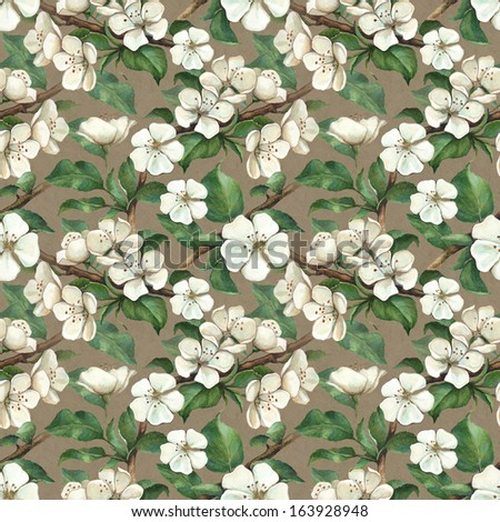 Vintage pattern with watercolor apple flowers - stock photo