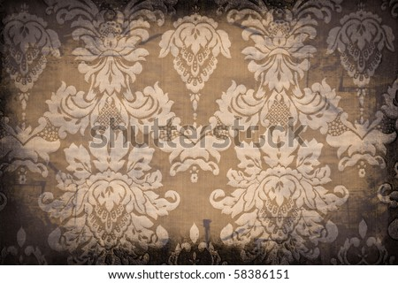 vintage patterns, grungy antique wallpaper background - stock photo