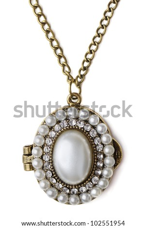 Vintage pearl locker isolated on white - stock photo