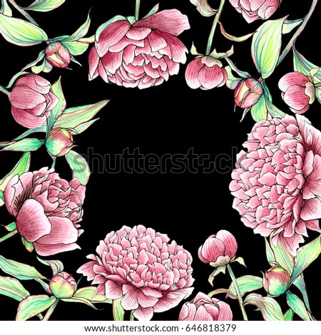 Vintage Peonies And Buds Outline Watercolor Frame Beautiful Rectangle Spring Flower Border On Black