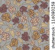 Vintage peony flowers and leaves seamless pattern on grey background. - stock photo