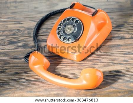 Vintage phone top view - stock photo