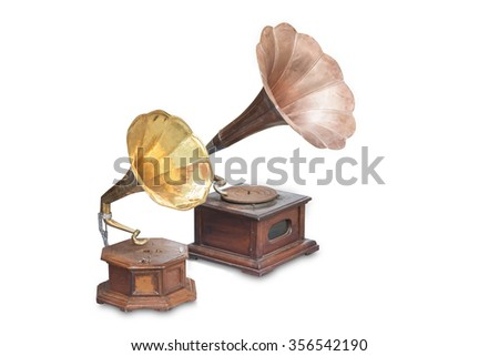 Vintage phonograph, record player, gramophone isolated on white background. - stock photo