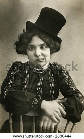 Vintage Photo a young woman with crossed eyes making a face at the camera - stock photo