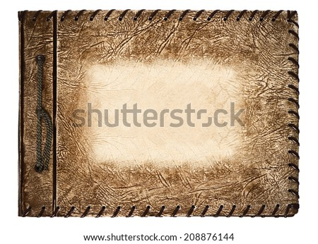 vintage photo album with brown leather cover on white background - stock photo