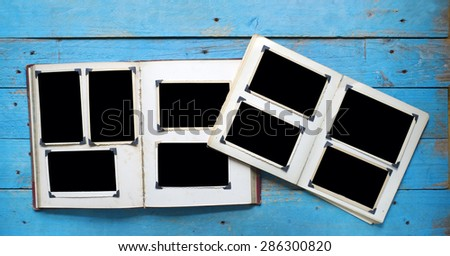 vintage photo albums with empty photo frames, photo corners, free space for your pix - stock photo