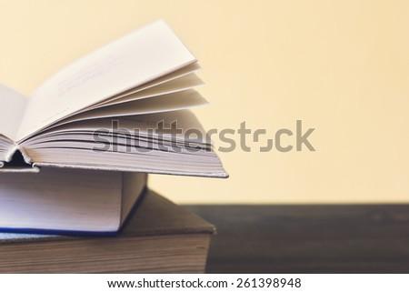 Vintage Photo./ Books On Wooden Shelf. - stock photo