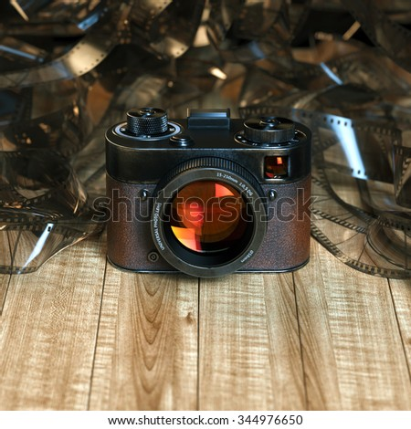 Vintage photo camera on wood table against the background of film. 3D render . Front version  - stock photo